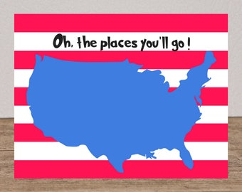 Oh The Places You'll Go! USA Map Classroom Library Decoration Printable Teacher's Gifts Librarian Gifts