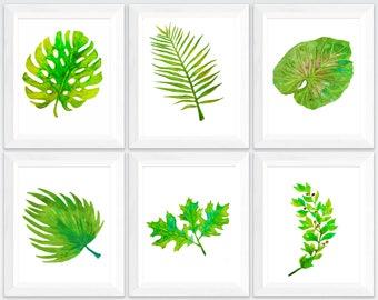 fern leaf print, tropical leaves print watercolor, tropical leaves watercolor, palm leaf print, set of 6 prints,  botanical print set