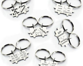 Puzzle keychains male female with motif back engraving