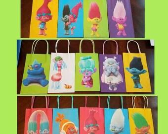 Trolls party favor bags...trolls birthday party...trolls party bags...trolls goodie bags..set of 12