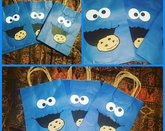 Cookie Monster favor bags...sesame street party..cookie monster birthday party...cookie monster goodie bags..set of 12