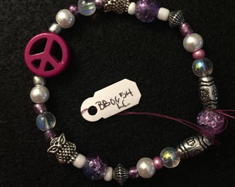 Purple Peace Sign Beaded Bracelet