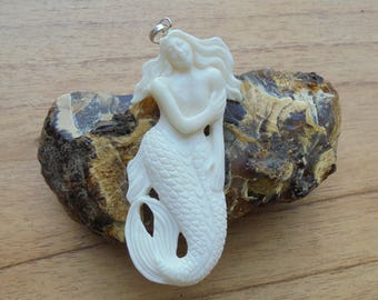 Mermaid Bone Pendant, Mermaid Bone Carving Jewelry MP 01