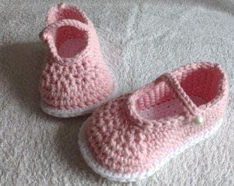 Handmade Baby Crochet Mary jane booties