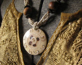 Artisan Fired Circle Pendant Beaded necklace