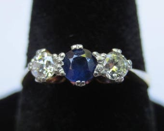Vintage Sapphire and Diamond 1920's 18k Gold & Platinum Ring
