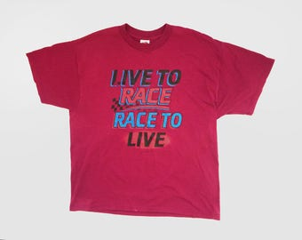 """Maroon """"Live to Race, Race to Live"""" - Racing T-Shirt"""