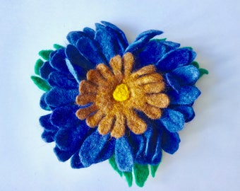 Felt Flower Pin, Corsage, Brooch, Blue Daisy
