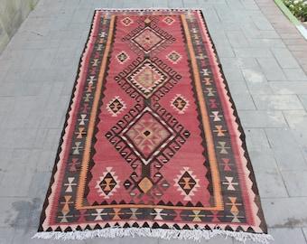 4.6 x 10 fertility Motif Kilim Rug, Very Rare Turkish Rug, Vintage Handmade Kilim Rug, Handwoven Vintage Rug