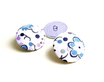 5 fabric covered buttons Liberty Mab 9 sizes in option