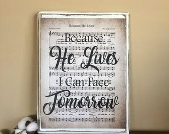 Hymn Art - Because He Lives Hymn Art - Vintage Hymn Art - Wooden Because He lives Music Sheet - Vintage Hymn Sign