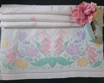 Unused Antique Irish Linen Old Bleach hand painted damask huckaback Guest towel  ~ Floral