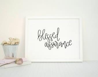 Blessed Assurance   Minimalist Christian Art   Hymn Print   Song Lyrics   Black and White   Minimalistic   Modern Calligraphy
