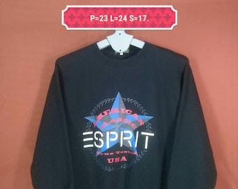 Vintage Esprit Sweatshirt Spellout Shirt Black Colour Size M Nike Sweatshirts Supreme Sweatshirts Hip Hop Polo Sport