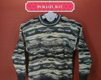 Vintage Purely Australian Clothing Sweatshirt Wool Sweater Gray Multi Colour Size XS Made Australia Designer Knitted Shirt Wool Sweatshirts