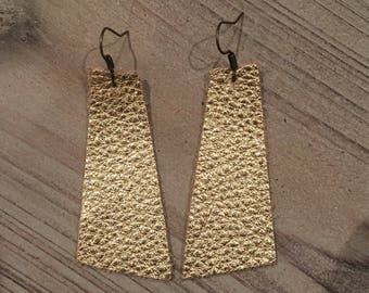 Gold pebbled leather geometric earrings