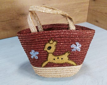 Vintage rattan bag, Rattan purse bag, Old rattan bag, 70s rattan bag with embroiderie, Rattan bag, small rattan bag, Rattan purse