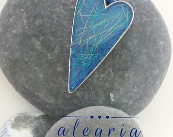 Beautiful heart pendant, summer skies, resin jewellery, gift for her, blue jewelry, birthday gift, heart jewelry
