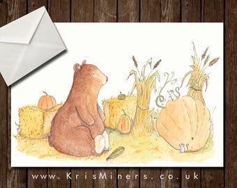 Whimsical Autumn Celebration Greetings Card - Harvest Bear
