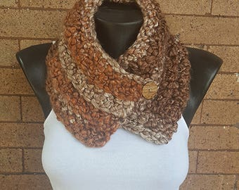 Brown Crochet Neck Cowl