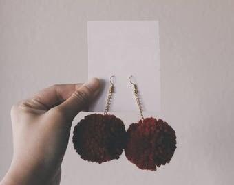 Red Pom Pom Earring