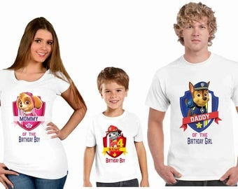 Paw Patrol family Birthday t-shirts, Personalized paw patrol family birthday shirt, birthday boy paw patrol shirt