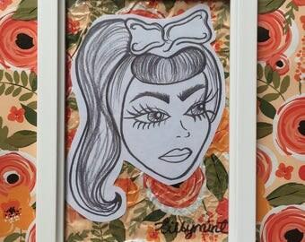Vintage Girl Drawing in Frame.
