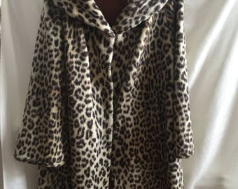 vintage 1950s 1960s leopard faux fur Lister coat bombshell rockabilly pin up full length vegan
