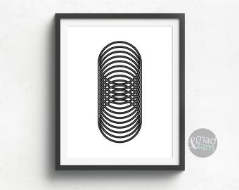 Black And White Geometric Print, Circles Art Print, Printable Art, Geometric Wall Art, Gift for Boss, Circles Wall Art, Modern Wall Art