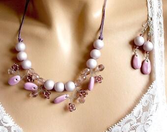 Purple jewelry beaded jewelry set
