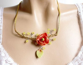 Necklace flower magnolia coral branch beads