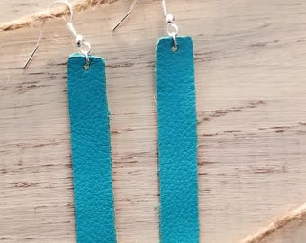 Soft Pebble Rectangle Genuine Leather Earrings