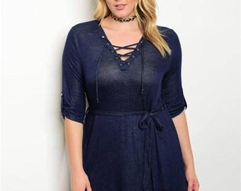 New Plus Size Blue Dress