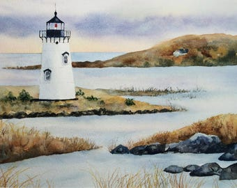 Maine Lighthouse, Original Watercolor Painting