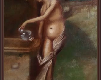 Female Nudity Oil Painting on Canvas Original Artwork Female Art Wall Hanging Collectible Art Home Living Decor Gift 18х14'' FREE SHIPPING!