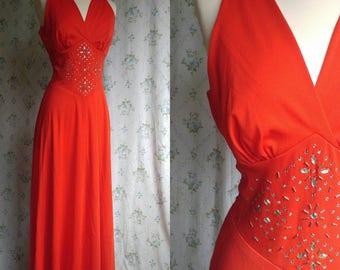 1970s disco floor length gown