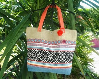 Pretty colorful fabric bag and burlap