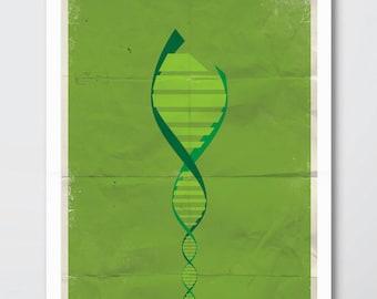 Hulk Minimalist Print - Marvel Avengers Poster Print, Hulk Film Wall Art, Hulk DNA Minimalist Art Print.