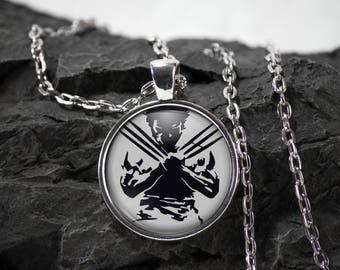 Wolverine Glass Pendant Wolverine necklace Wolverine jewelry Marvel Comics superhero photo pendant photo jewelry