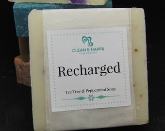 "Handmade ""Recharged"" Tea Tree and Peppermint Soap by Clean & Happy (1 bar of soap)"