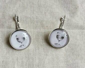 Tiny hand-drawn miniature wine earrings (wearable art)