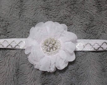 flower with lace on sliver and white elastic headband