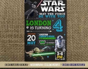Star Wars Invitation,Star Wars Birthday,Star Wars Birthday Invitation,Star Wars Party,Star Wars Editable,Star Wars-SL15