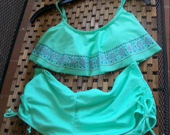 SALE!!! Mint Bohemian Bikini+ Boy short Combo