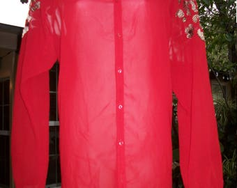 1970s Inspired Red Sheer Flowy Ethnic Blouse Large