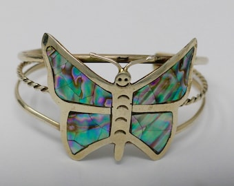 Vintage Butterfly shaped Silver and Abalone Cuff Bracelet