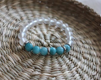 bracelet made from gemstones amazonite and crystal
