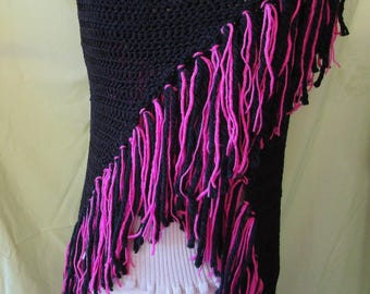 large black triangle shawl scarf with pink and black fringe
