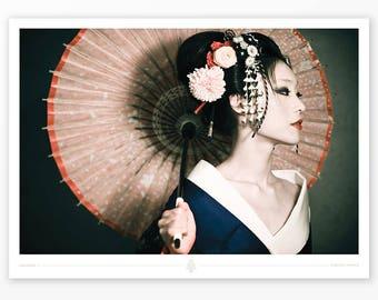 """Japanese Geisha Traditional Poster Print """"Sakuran II"""" Zhang Jingna / Maiko Kimono, Asian home office living room wall decor art, gift"""
