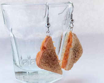 Miniature Grilled Cheese Sandwich Earrings // Miniature Food Jewelry // Tiny Food Jewelry // Polymer Clay Jewelry